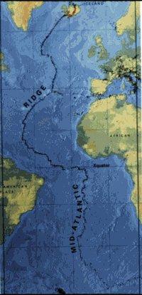 Diagrama ilustrando a Cordilheira Meso-Atlântica, sítio de limites de placas divergentes: Fonte U.S. Geological Survey