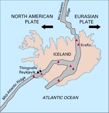 Mapa mostrando a Cordilheira Meso-Atlântica dividindo a Islândia e separando as placas Norte Americana e Eurasiana: Fonte U.S. Geological Survey