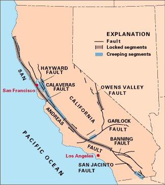 Mapa mostrando a falha transformante San Andreas na Califórnia, E.U.A.: Fonte U.S. Geological Survey