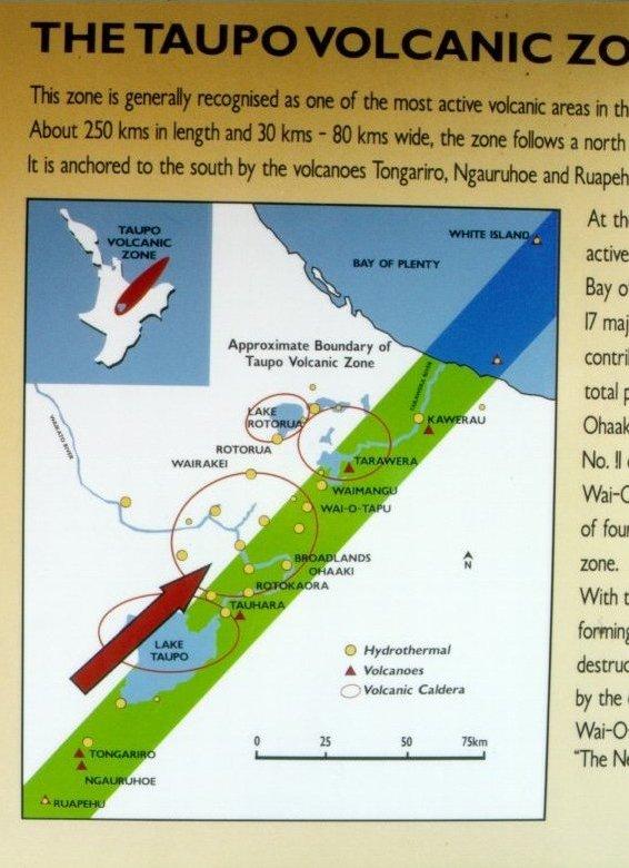 Detalhe da Zona Vulcânica de Taupo